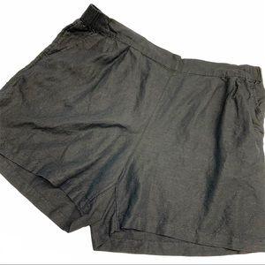 A new day black linen blend elastic waist shorts